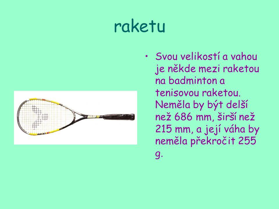 raketu Svou velikostí a vahou je někde mezi raketou na badminton a tenisovou raketou.