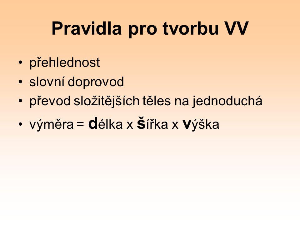 Pravidla pro tvorbu VV přehlednost slovní doprovod převod složitějších těles na jednoduchá výměra = d élka x š ířka x v ýška