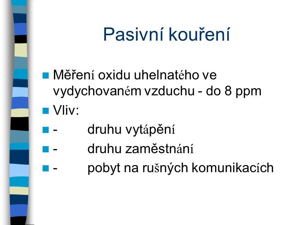 Pasivní kouření Měřen í oxidu uhelnat é ho ve vydychovan é m vzduchu - do 8 ppm Vliv: - druhu vyt á pěn í - druhu zaměstn á n í - pobyt na ru š ných komunikac í ch