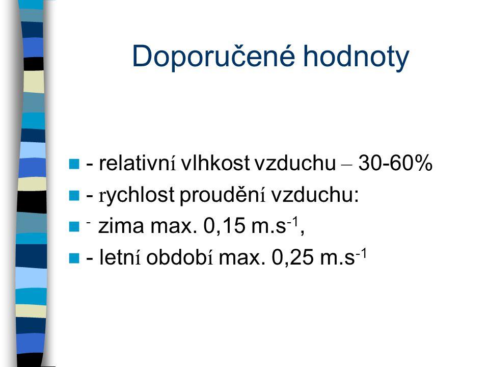 Doporučené hodnoty - relativn í vlhkost vzduchu – 30-60% - r ychlost prouděn í vzduchu: - zima max.