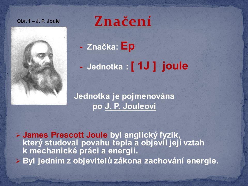 - Značka: Ep - Jednotka : [ 1J ] joule Jednotka je pojmenována po J.