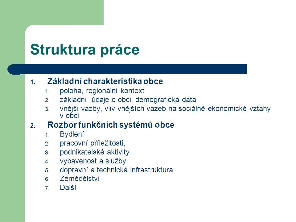 Struktura práce 1. Základní charakteristika obce 1.