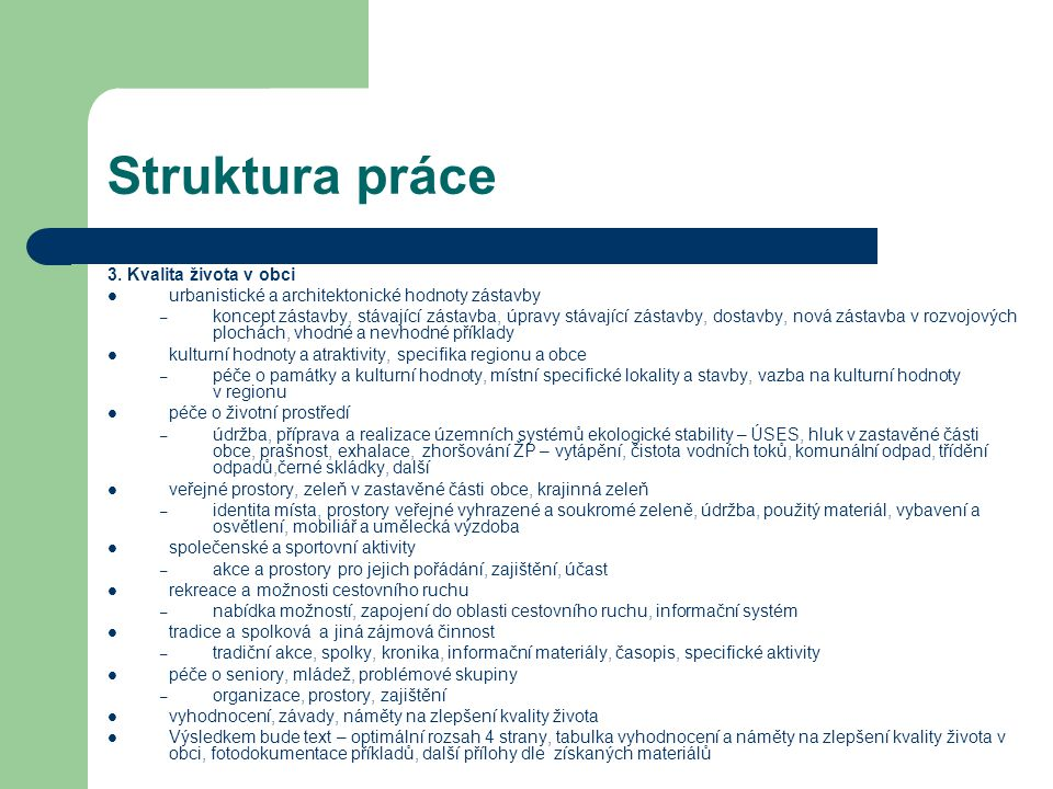 Struktura práce 3.