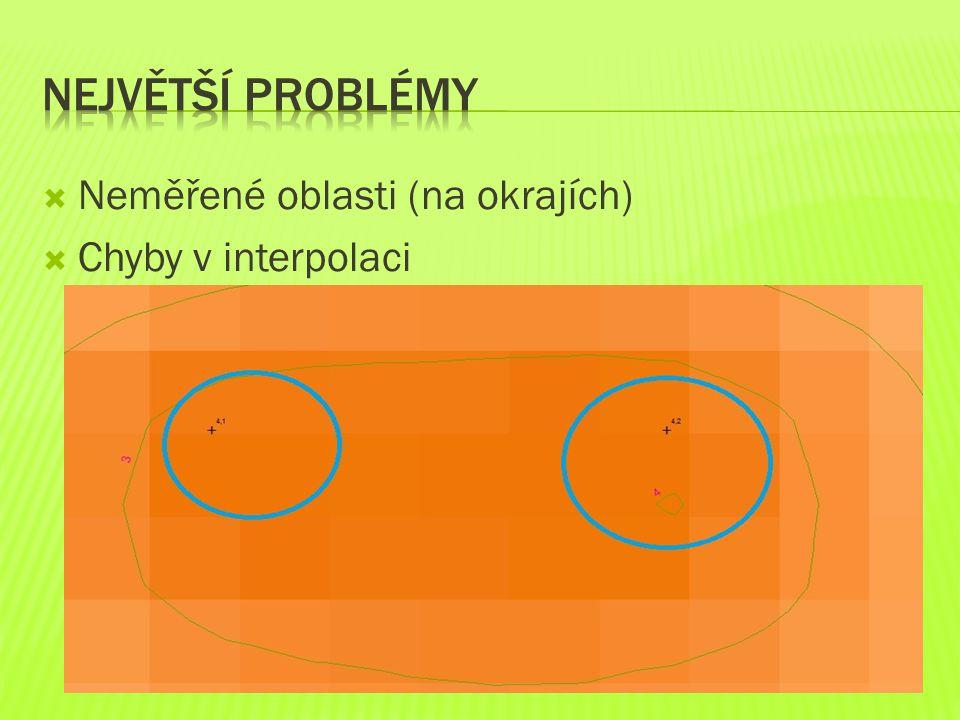  Neměřené oblasti (na okrajích)  Chyby v interpolaci