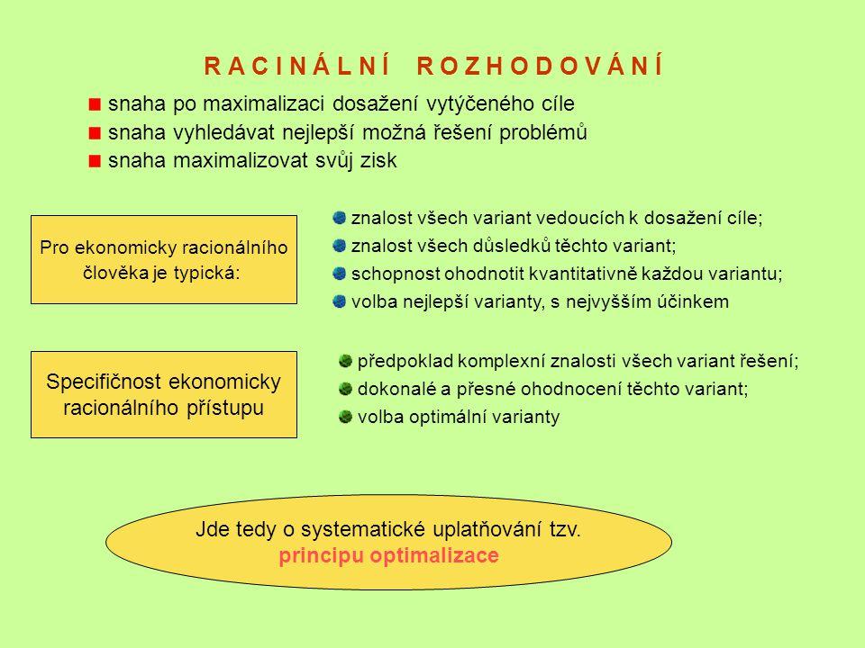 R A C I N Á L N Í R O Z H O D O V Á N Í snaha po maximalizaci dosažení vytýčeného cíle snaha vyhledávat nejlepší možná řešení problémů snaha maximaliz