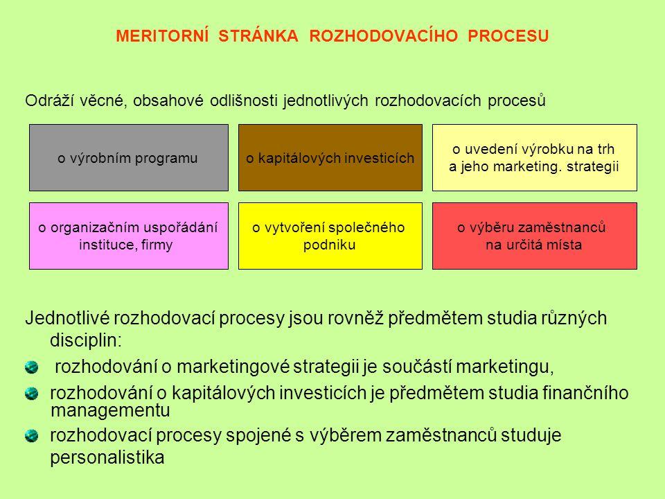 MERITORNÍ STRÁNKA ROZHODOVACÍHO PROCESU Odráží věcné, obsahové odlišnosti jednotlivých rozhodovacích procesů Jednotlivé rozhodovací procesy jsou rovně