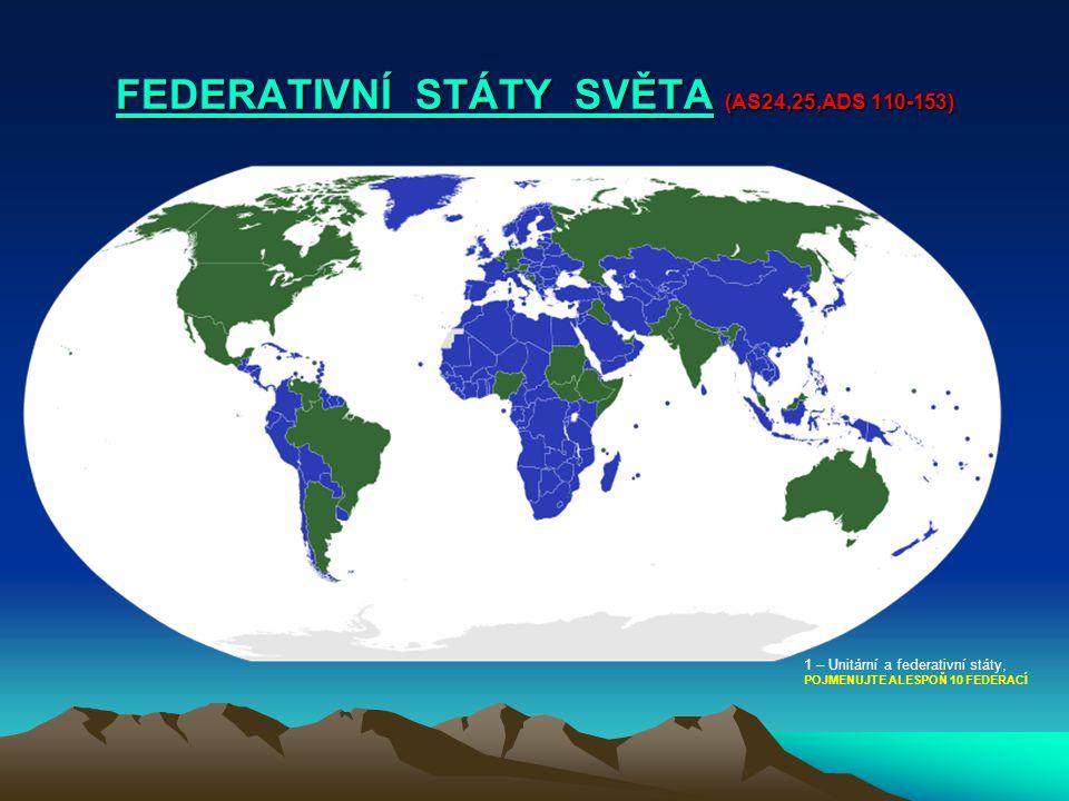 FEDERATIVNÍ STÁTY SVĚTAFEDERATIVNÍ STÁTY SVĚTA (AS24,25,ADS 110-153) FEDERATIVNÍ STÁTY SVĚTA 1 – Unitární a federativní státy, POJMENUJTE ALESPOŇ 10 F