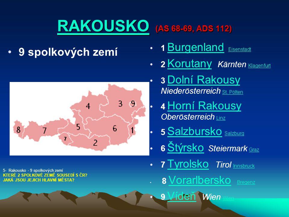 RAKOUSKORAKOUSKO (AS 68-69, ADS 112) RAKOUSKO 9 spolkových zemí 1 Burgenland Eisenstadt Burgenland Eisenstadt 2 Korutany Kärnten Klagenfurt Korutany K