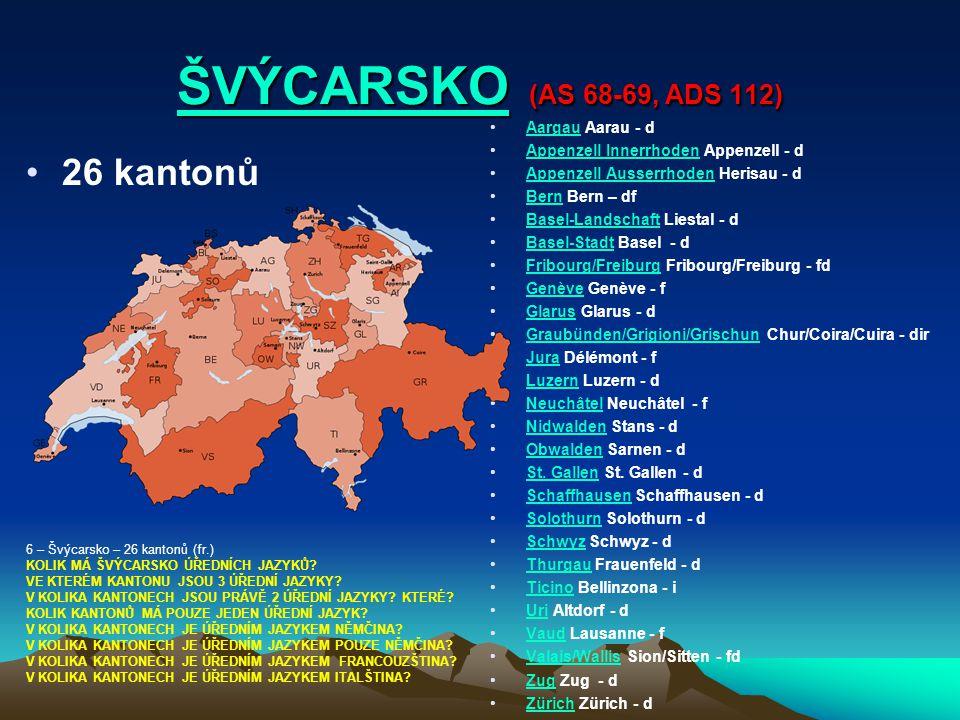 ŠVÝCARSKOŠVÝCARSKO (AS 68-69, ADS 112) ŠVÝCARSKO 26 kantonů Aargau Aarau - dAargau Appenzell Innerrhoden Appenzell - dAppenzell Innerrhoden Appenzell