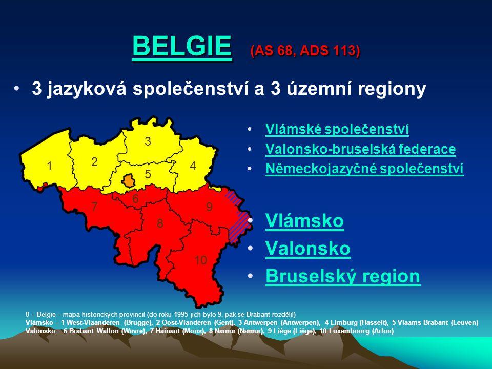 BELGIE BELGIE (AS 68, ADS 113) BELGIE 3 jazyková společenství a 3 územní regiony Vlámské společenství Valonsko-bruselská federace Německojazyčné spole