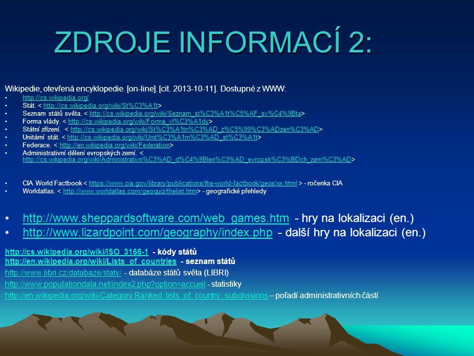 ZDROJE INFORMACÍ 2: Wikipedie, otevřená encyklopedie. [on-line]. [cit. 2013-10-11]. Dostupné z WWW: http://cs.wikipedia.org/ Stát. http://cs.wikipedia