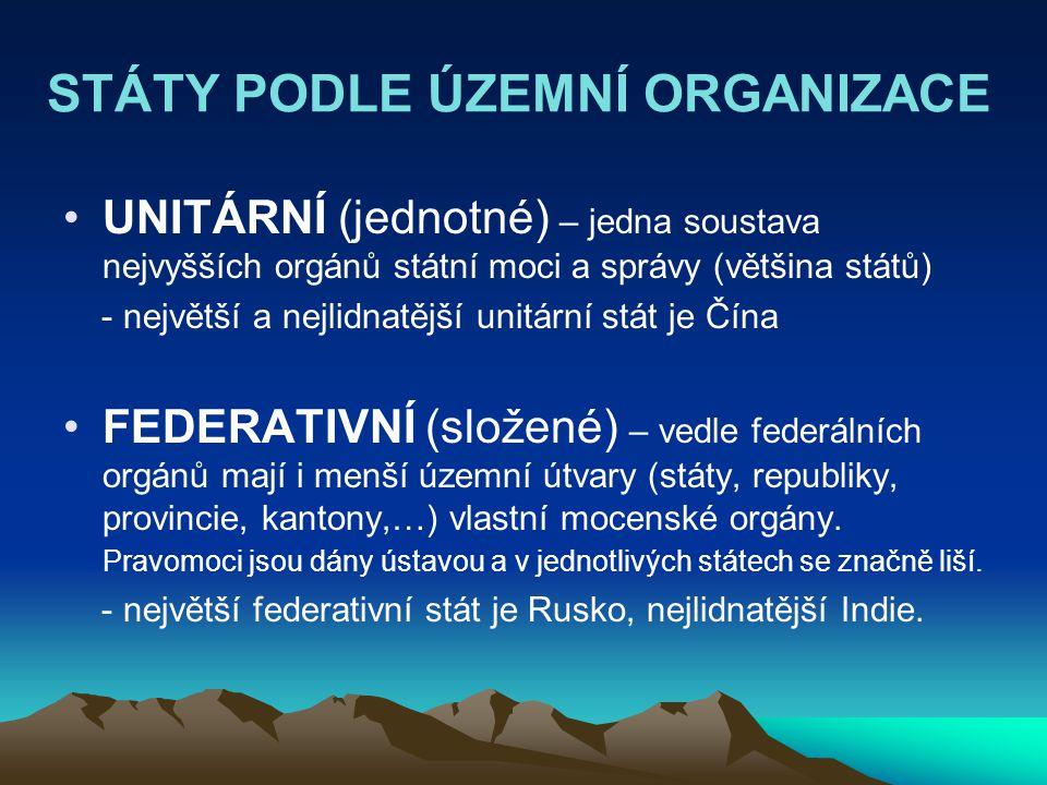 STÁTY PODLE ÚZEMNÍ ORGANIZACE UNITÁRNÍ (jednotné) – jedna soustava nejvyšších orgánů státní moci a správy (většina států) - největší a nejlidnatější u