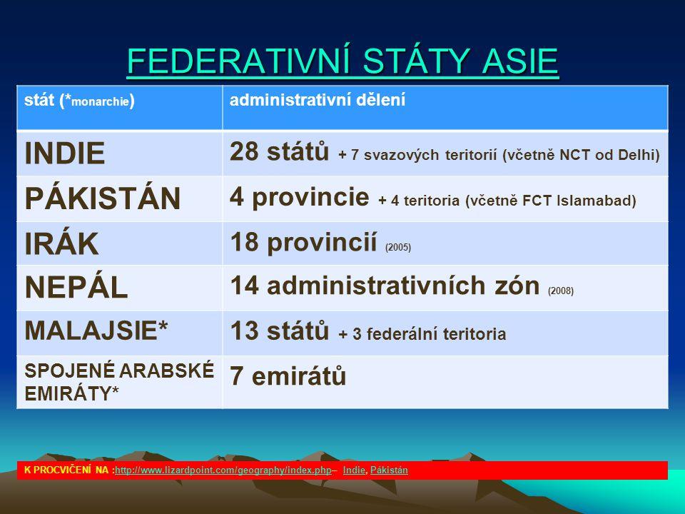 FEDERATIVNÍ STÁTY ASIE FEDERATIVNÍ STÁTY ASIE stát (* monarchie )administrativní dělení INDIE 28 států + 7 svazových teritorií (včetně NCT od Delhi) P