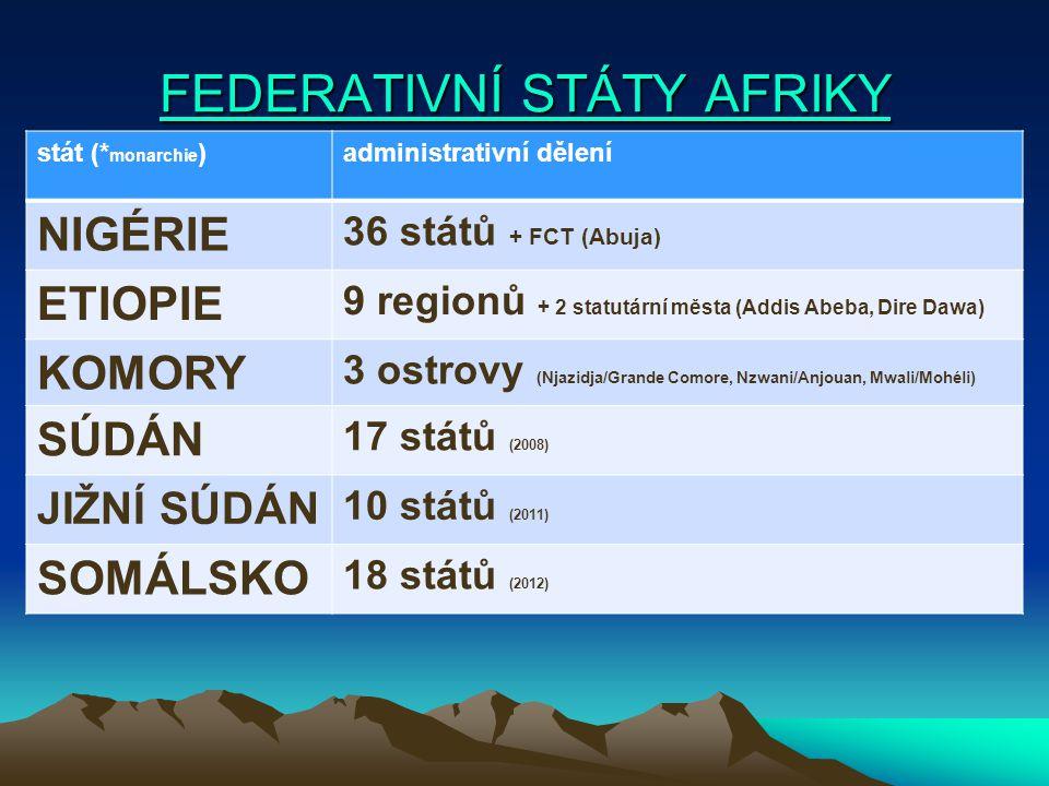 FEDERATIVNÍ STÁTY AFRIKY FEDERATIVNÍ STÁTY AFRIKY stát (* monarchie )administrativní dělení NIGÉRIE 36 států + FCT (Abuja) ETIOPIE 9 regionů + 2 statu