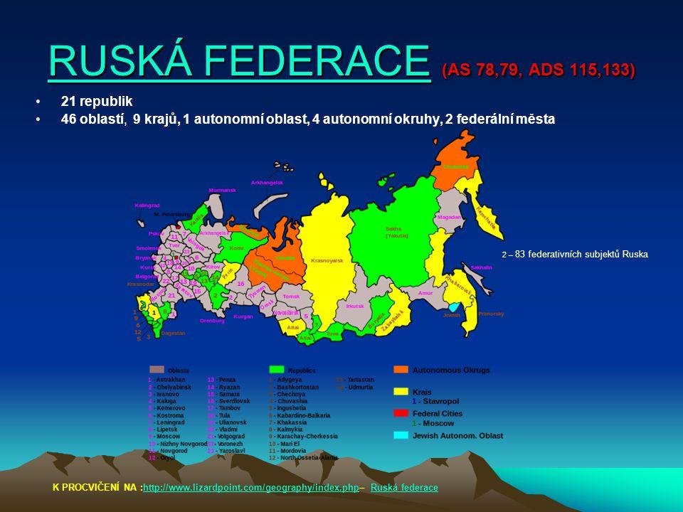RUSKÁ FEDERACERUSKÁ FEDERACE (AS 78,79, ADS 115,133) RUSKÁ FEDERACE 21 republik 46 oblastí, 9 krajů, 1 autonomní oblast, 4 autonomní okruhy, 2 federál