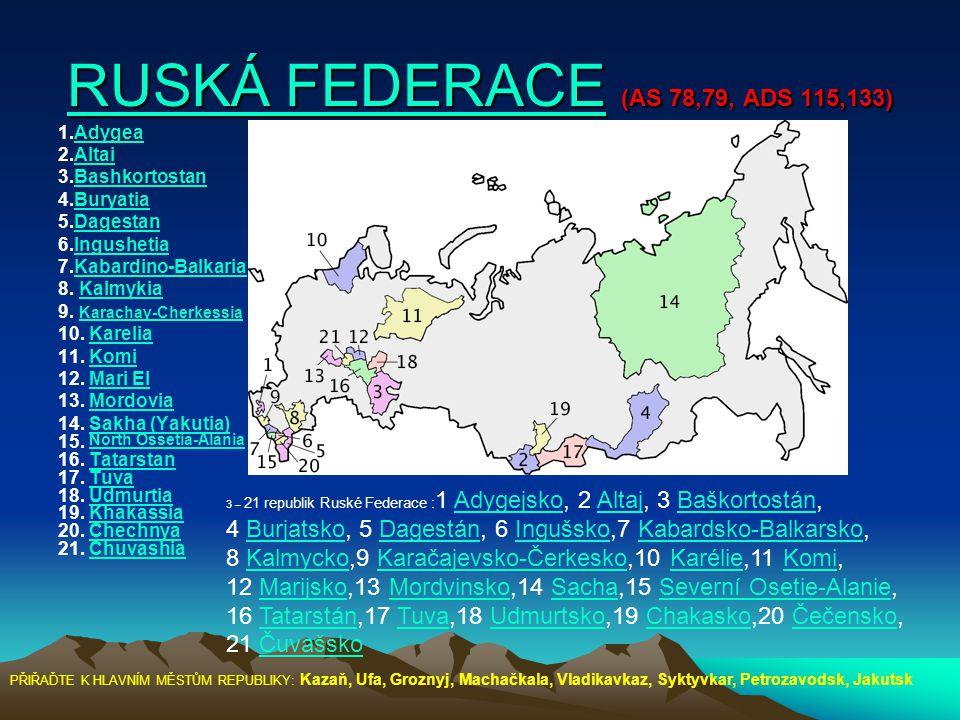RUSKÁ FEDERACERUSKÁ FEDERACE (AS 78,79, ADS 115,133) RUSKÁ FEDERACE 1.AdygeaAdygea 2.AltaiAltai 3.BashkortostanBashkortostan 4.BuryatiaBuryatia 5.Dage