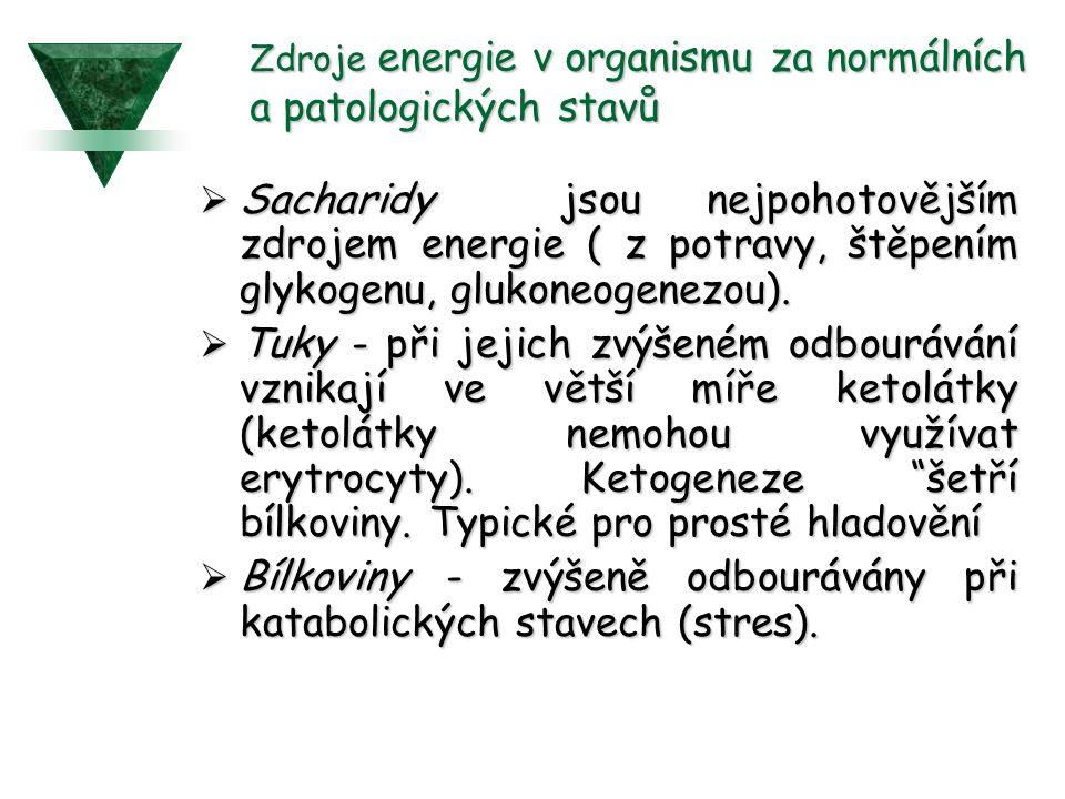 Zdroje energie v organismu za normálních a patologických stavů  Sacharidy jsou nejpohotovějším zdrojem energie ( z potravy, štěpením glykogenu, glukoneogenezou).