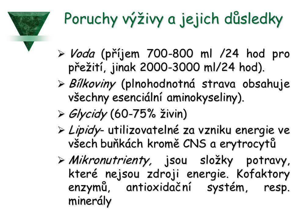 Poruchy výživy a jejich důsledky  Voda (příjem 700-800 ml /24 hod pro přežití, jinak 2000-3000 ml/24 hod).