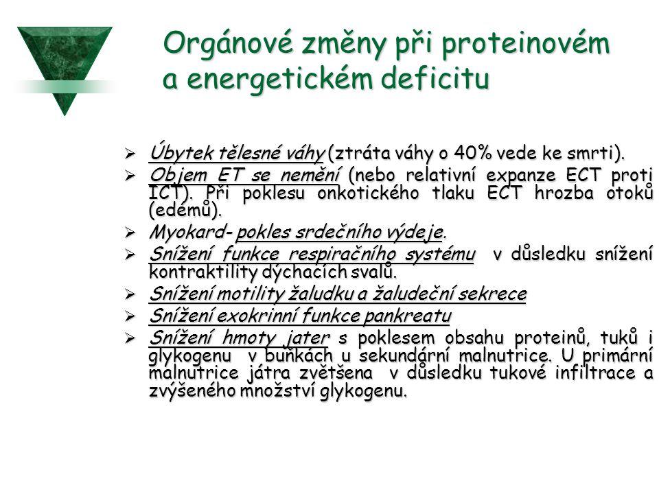 Orgánové změny při proteinovém a energetickém deficitu  Úbytek tělesné váhy (ztráta váhy o 40% vede ke smrti).