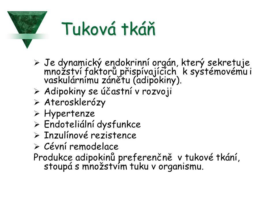 Tuková tkáň  Je dynamický endokrinní orgán, který sekretuje množství faktorů přispívajících k systémovému i vaskulárnímu zánětu (adipokiny).