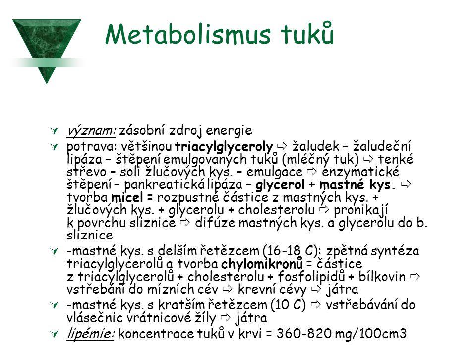 Metabolismus tuků  význam: zásobní zdroj energie  potrava: většinou triacylglyceroly  žaludek – žaludeční lipáza – štěpení emulgovaných tuků (mléčný tuk)  tenké střevo – soli žlučových kys.