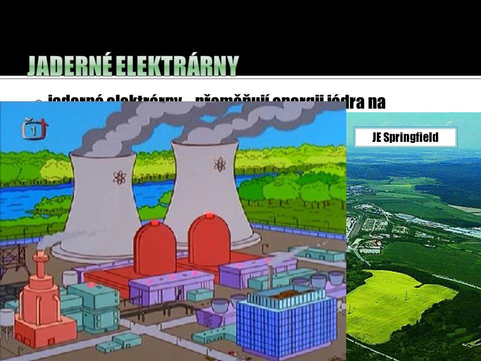  jaderné elektrárny – přeměňují energii jádra na elektrickou energii. JE Dukovany – výkon:4x 440 MW JE Temelín – výkon: 2x1000MW JE Springfield