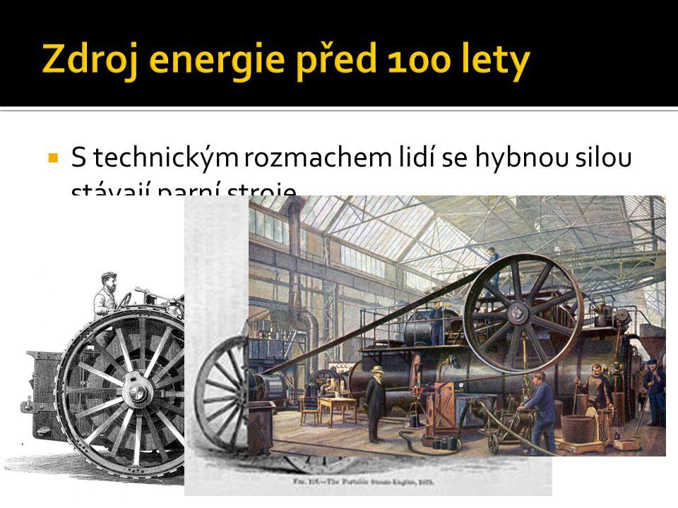  V současnosti je hlavním zdrojem energie elektřina.