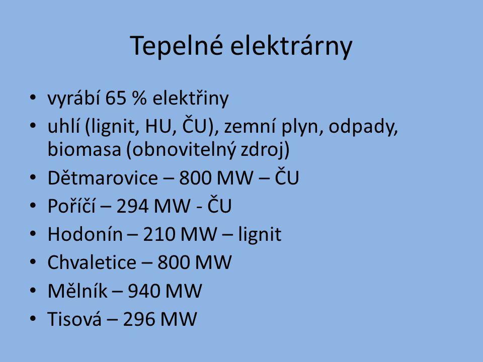 Tepelné elektrárny vyrábí 65 % elektřiny uhlí (lignit, HU, ČU), zemní plyn, odpady, biomasa (obnovitelný zdroj) Dětmarovice – 800 MW – ČU Poříčí – 294