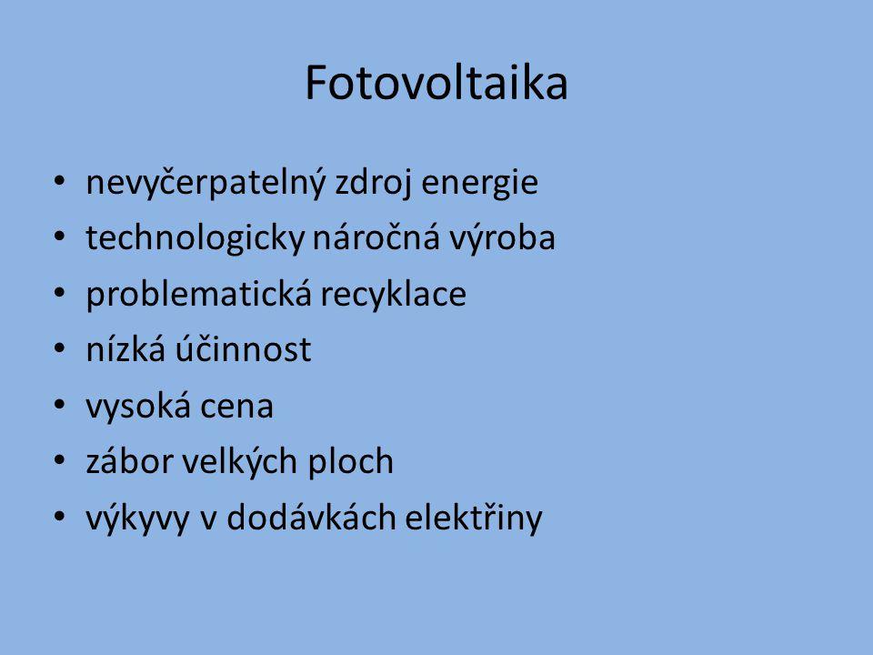 Fotovoltaika nevyčerpatelný zdroj energie technologicky náročná výroba problematická recyklace nízká účinnost vysoká cena zábor velkých ploch výkyvy v
