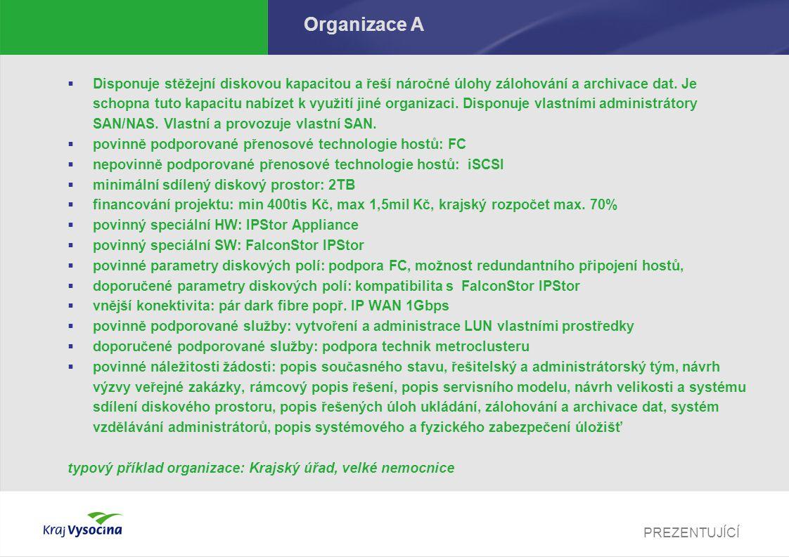 PREZENTUJÍCÍ Organizace A  Disponuje stěžejní diskovou kapacitou a řeší náročné úlohy zálohování a archivace dat.