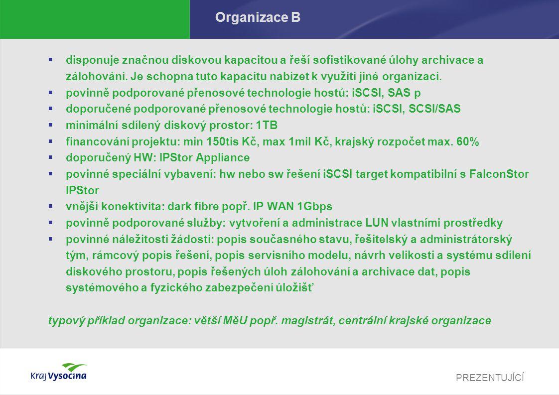 PREZENTUJÍCÍ Organizace B  disponuje značnou diskovou kapacitou a řeší sofistikované úlohy archivace a zálohování.