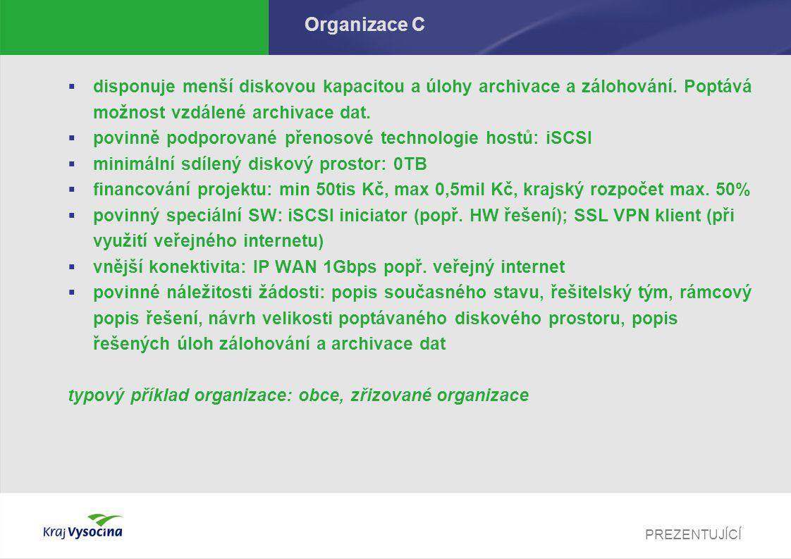 PREZENTUJÍCÍ Organizace C  disponuje menší diskovou kapacitou a úlohy archivace a zálohování.