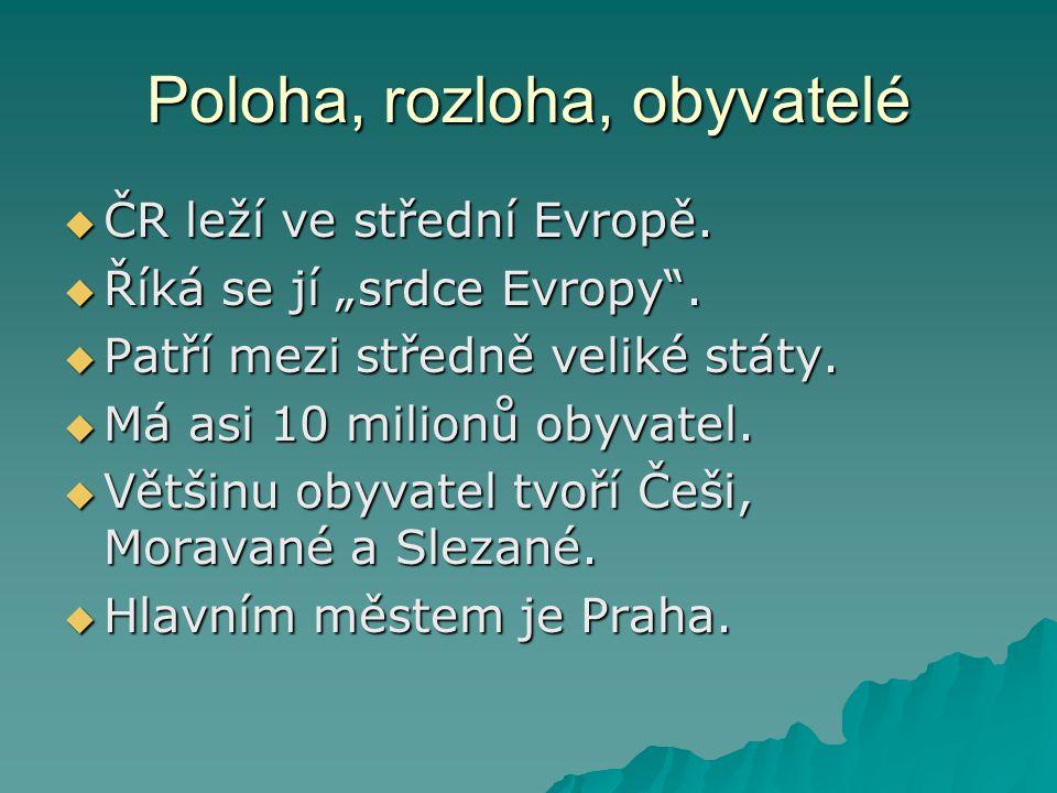"""Poloha, rozloha, obyvatelé  ČR leží ve střední Evropě.  Říká se jí """"srdce Evropy"""".  Patří mezi středně veliké státy.  Má asi 10 milionů obyvatel."""