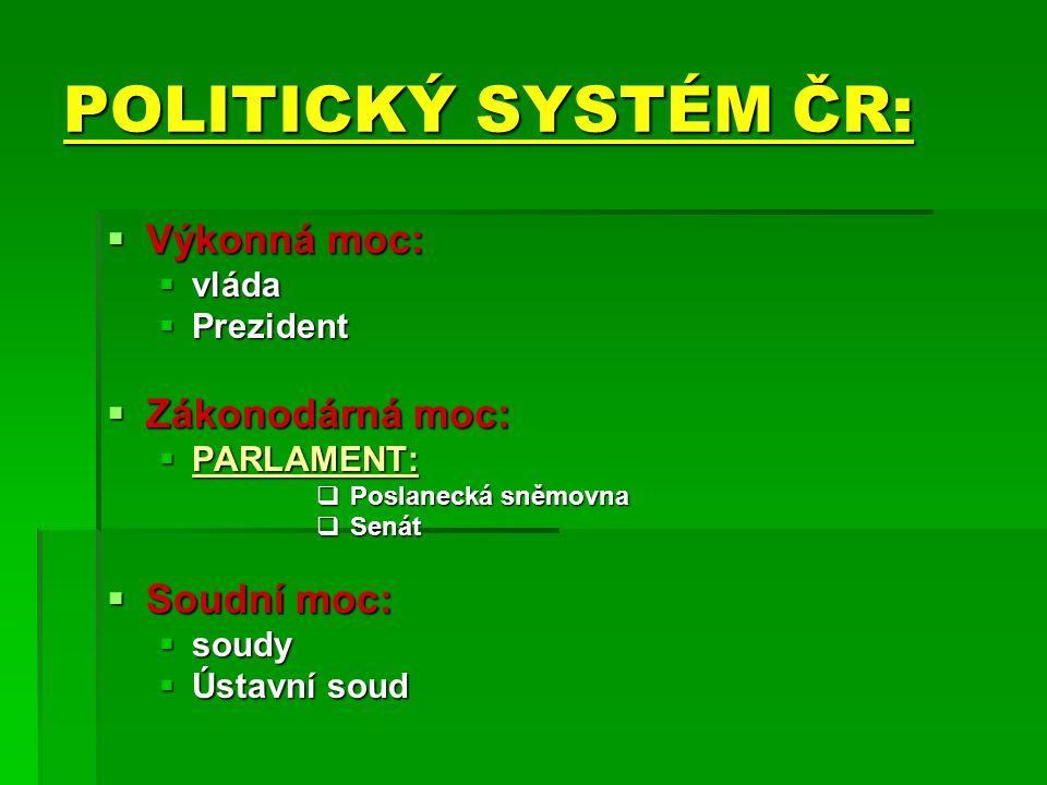 POLITICKÝ SYSTÉM ČR:  Výkonná moc:  vláda  Prezident  Zákonodárná moc:  PARLAMENT:  Poslanecká sněmovna  Senát  Soudní moc:  soudy  Ústavní soud