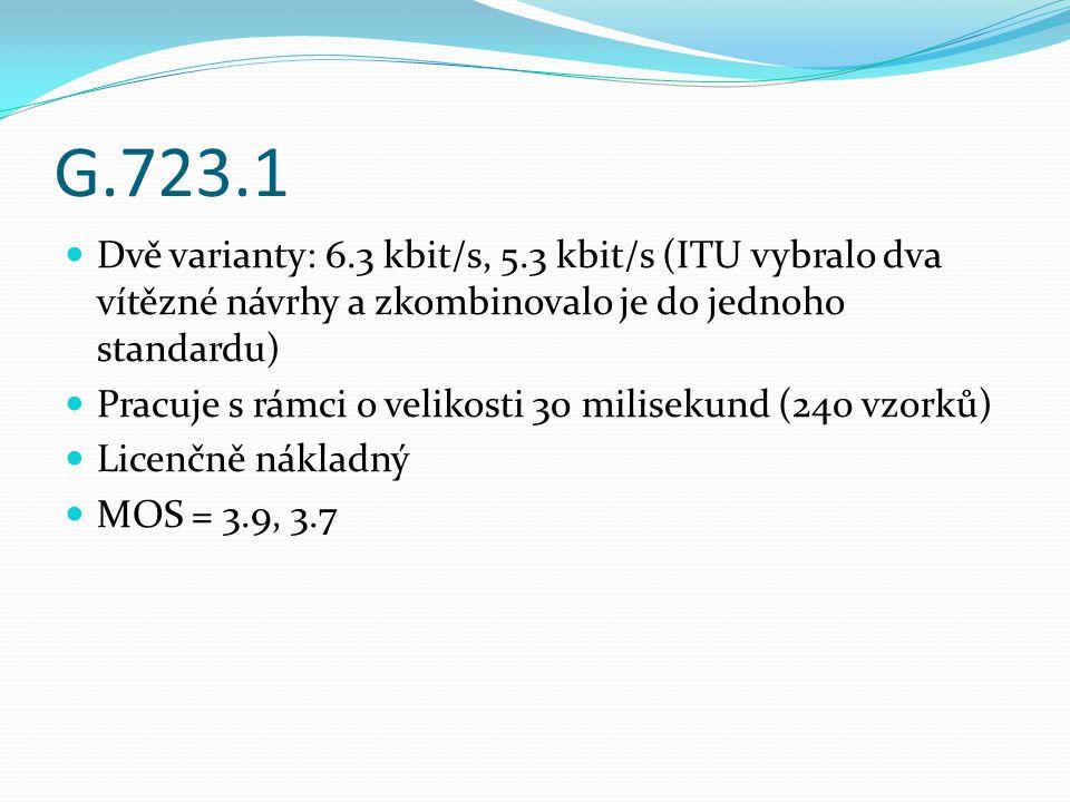 G.723.1 Dvě varianty: 6.3 kbit/s, 5.3 kbit/s (ITU vybralo dva vítězné návrhy a zkombinovalo je do jednoho standardu) Pracuje s rámci o velikosti 30 mi