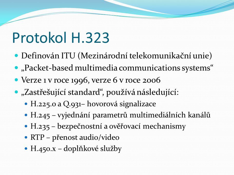 """Protokol H.323 Definován ITU (Mezinárodní telekomunikační unie) """"Packet-based multimedia communications systems"""" Verze 1 v roce 1996, verze 6 v roce 2"""