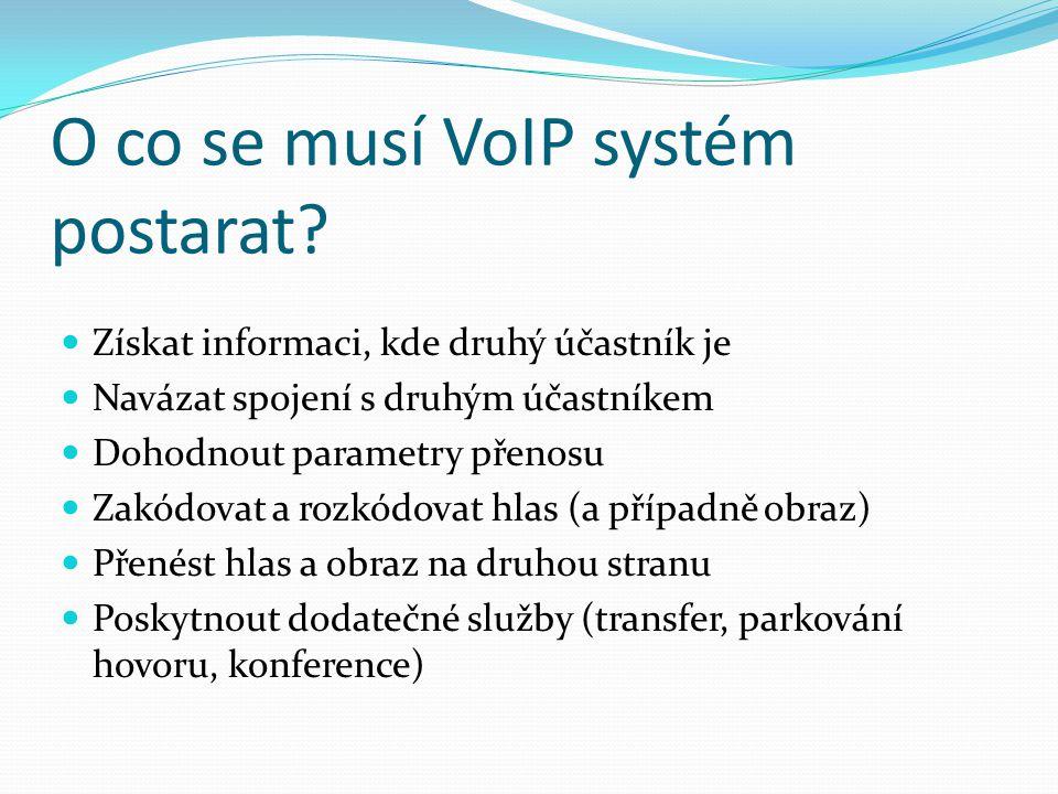 Session Initiation Protocol Definován IETF RFC 2543 (1999), RFC 3261 (2002) Henning Schulzrine, Columbia University Obecně slouží pro navázání relace mezi dvěma či více účastníky, modifikaci a ukončení relace Audio/video se opět přenáší protokolem RTP