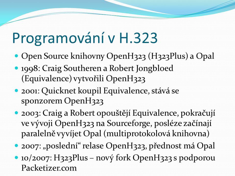 Programování v H.323 Open Source knihovny OpenH323 (H323Plus) a Opal 1998: Craig Southeren a Robert Jongbloed (Equivalence) vytvořili OpenH323 2001: Q