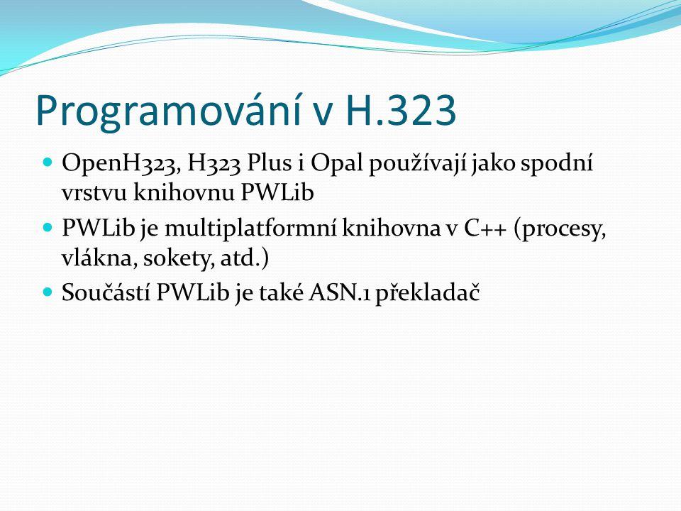 Programování v H.323 OpenH323, H323 Plus i Opal používají jako spodní vrstvu knihovnu PWLib PWLib je multiplatformní knihovna v C++ (procesy, vlákna,