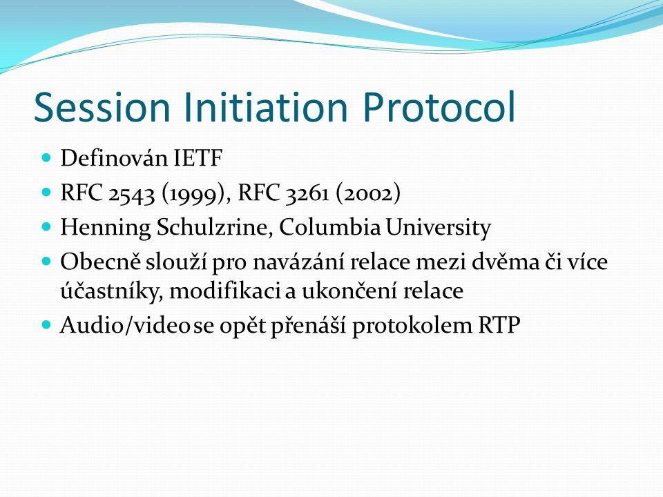 Session Initiation Protocol Definován IETF RFC 2543 (1999), RFC 3261 (2002) Henning Schulzrine, Columbia University Obecně slouží pro navázání relace