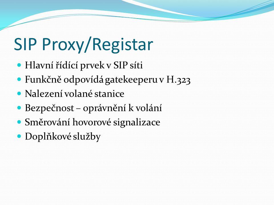 SIP Proxy/Registar Hlavní řídící prvek v SIP síti Funkčně odpovídá gatekeeperu v H.323 Nalezení volané stanice Bezpečnost – oprávnění k volání Směrová