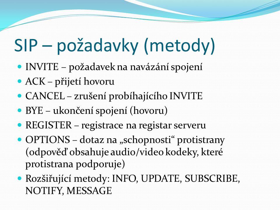 SIP – požadavky (metody) INVITE – požadavek na navázání spojení ACK – přijetí hovoru CANCEL – zrušení probíhajícího INVITE BYE – ukončení spojení (hov