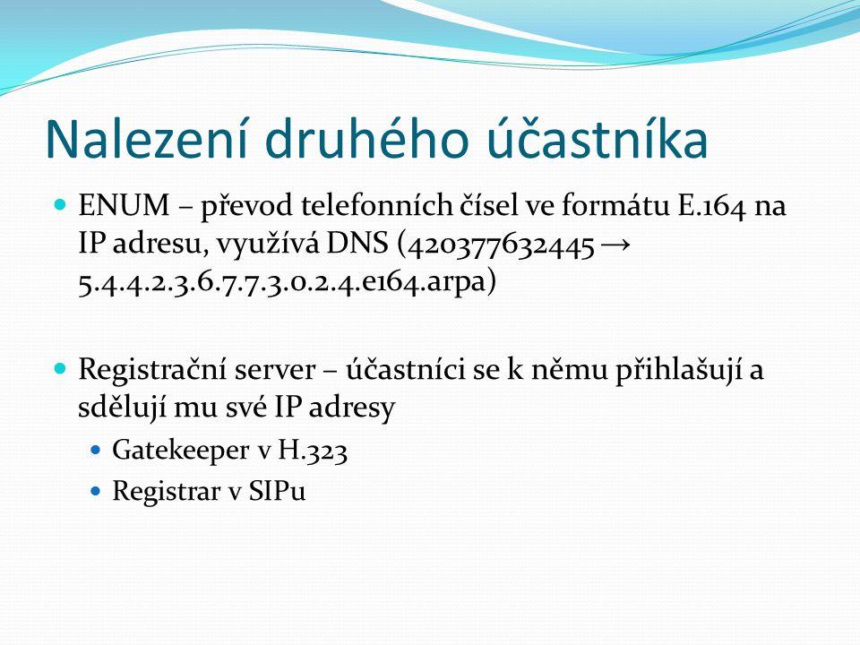 H.245 Používá se pro vyjednání parametrů multimediálních kanálů Kodeky, IP adresy a čísla portů V základní verzi signalizace používá druhé TCP spojení Obvyklá výměná zpráv: hlasování master/slave výměna informací o schopnostech endpointů vyjednání logických kanálů