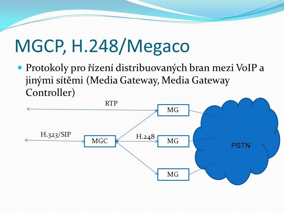 MGCP, H.248/Megaco Protokoly pro řízení distribuovaných bran mezi VoIP a jinými sítěmi (Media Gateway, Media Gateway Controller) MGC MG PSTN H.323/SIP