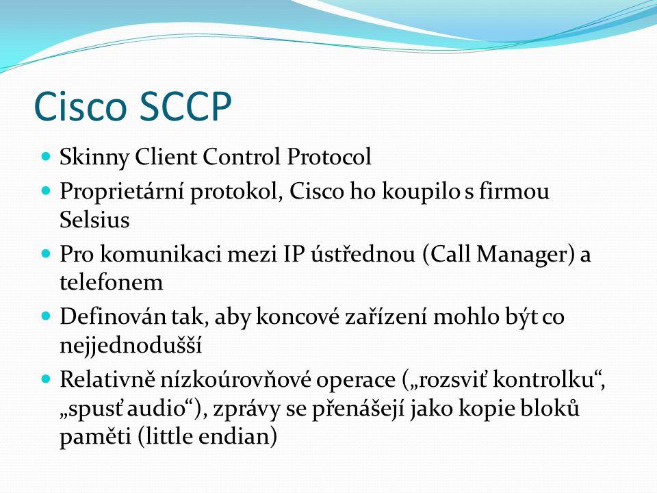 Cisco SCCP Skinny Client Control Protocol Proprietární protokol, Cisco ho koupilo s firmou Selsius Pro komunikaci mezi IP ústřednou (Call Manager) a t