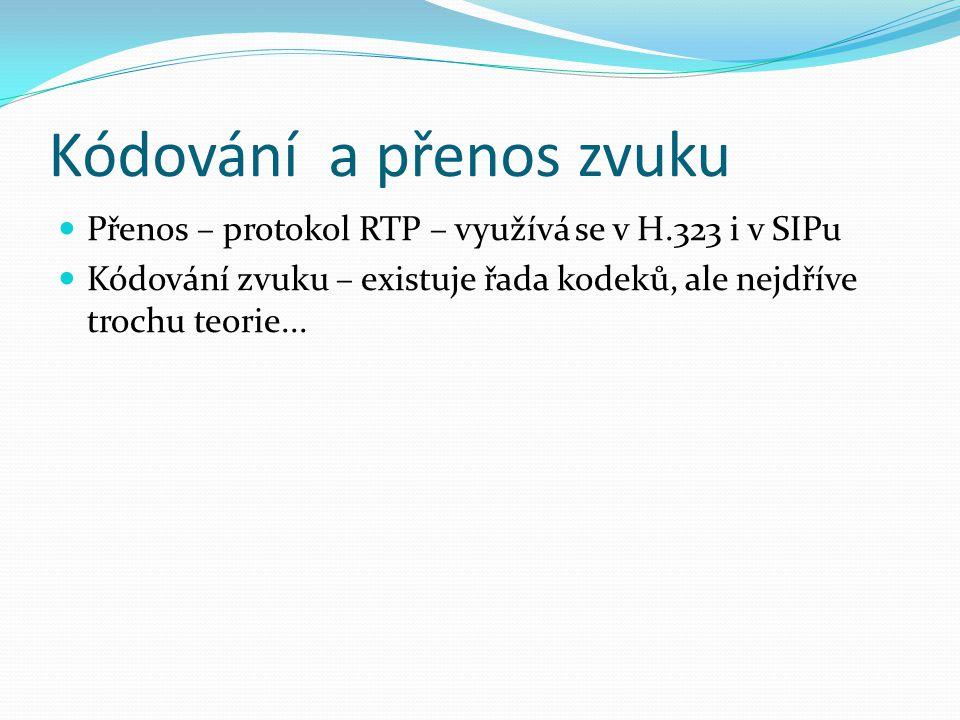 Kódování a přenos zvuku Přenos – protokol RTP – využívá se v H.323 i v SIPu Kódování zvuku – existuje řada kodeků, ale nejdříve trochu teorie...