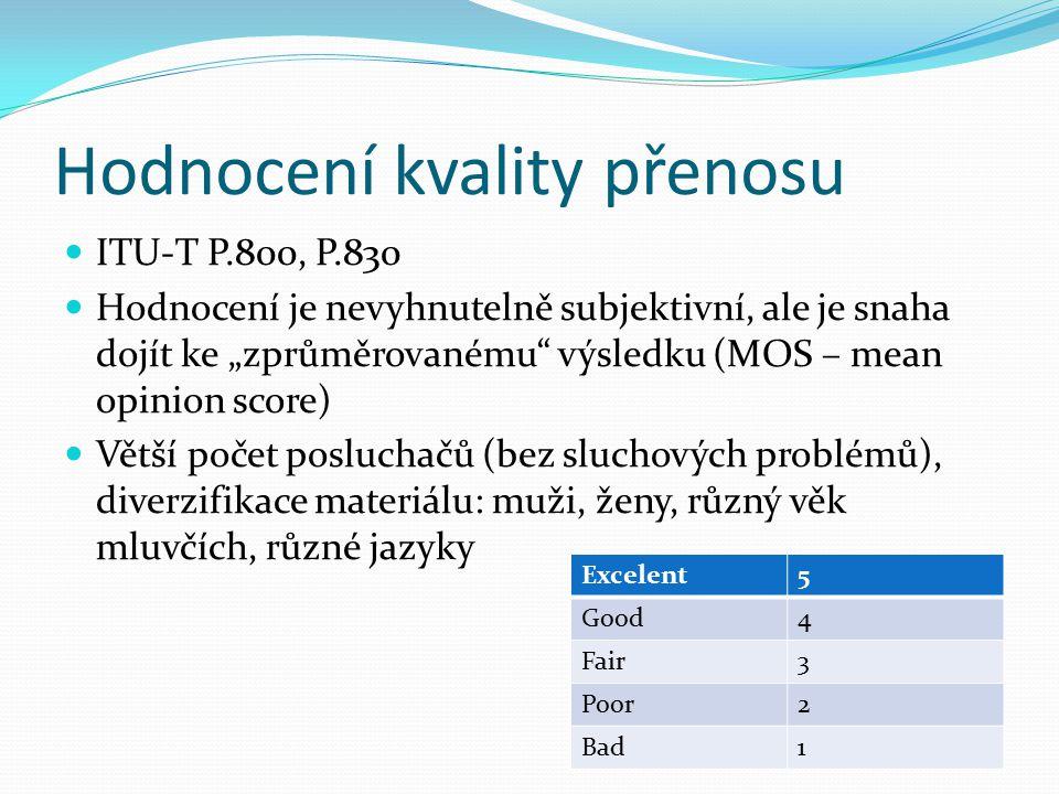 """Hodnocení kvality přenosu ITU-T P.800, P.830 Hodnocení je nevyhnutelně subjektivní, ale je snaha dojít ke """"zprůměrovanému"""" výsledku (MOS – mean opinio"""