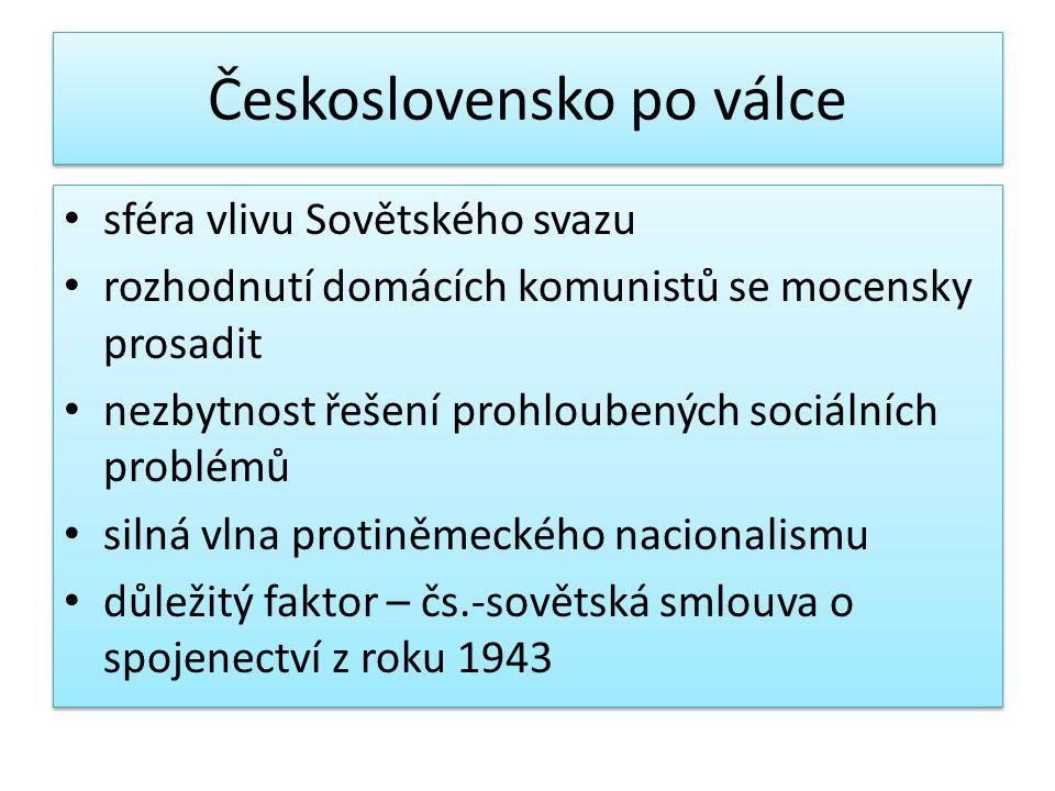 Československo po válce sféra vlivu Sovětského svazu rozhodnutí domácích komunistů se mocensky prosadit nezbytnost řešení prohloubených sociálních pro