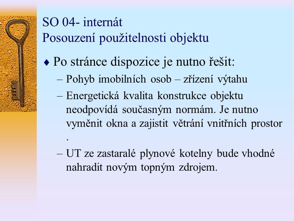 SO 04- internát Posouzení použitelnosti objektu  Po stránce dispozice je nutno řešit: –Pohyb imobilních osob – zřízení výtahu –Energetická kvalita konstrukce objektu neodpovídá současným normám.