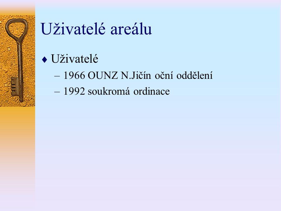 Uživatelé areálu  Uživatelé –1966 OUNZ N.Jičín oční oddělení –1992 soukromá ordinace